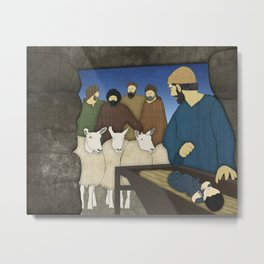 Nativity: Shepherds visit baby Jesus in the Bethlehem manger Luke 2:8-20 Metal Print
