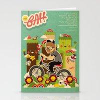 cycling Stationery Cards featuring Mr.Bongo Cycling by Gunawan Lo