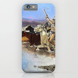 Crossing the River - Charles Marion Russell iPhone Case