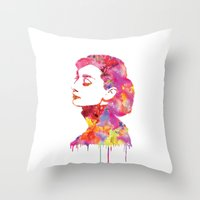audrey Throw Pillows featuring Audrey by Fimbis
