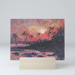 Pink Sunset Seascape Painting Mini Art Print