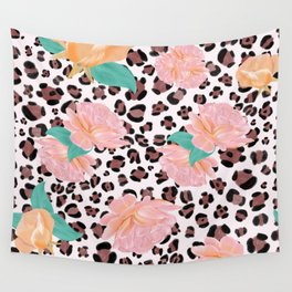 Leopard and watercolor roses pattern  Wall Tapestry
