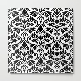 Flourish Damask Big Ptn Black on White Metal Print