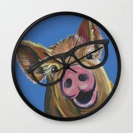 Pig with Glasses, Blue Pig Painting Wall Clock