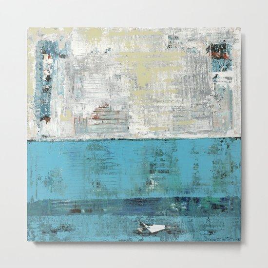 Fairbanks Abstract Light Blue White Metal Print