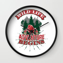 Wild Life Adventure Begins Boar Campfire Wall Clock