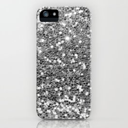 Chic faux silver abstract sequins glitter modern pattern iPhone Case