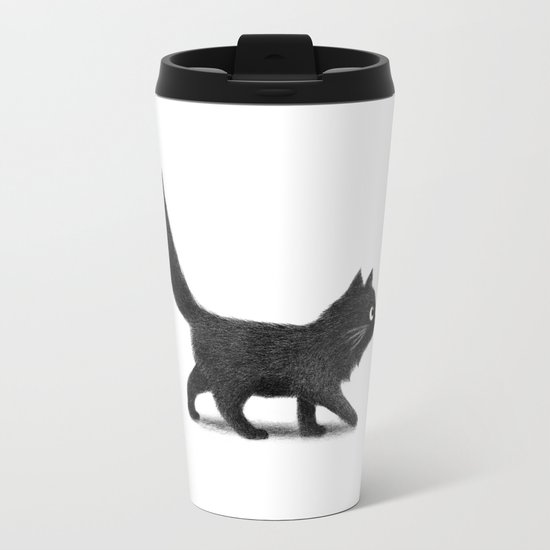 Creeping Cat Metal Travel Mug