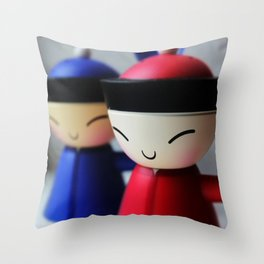 The Happy Eggcups Throw Pillow
