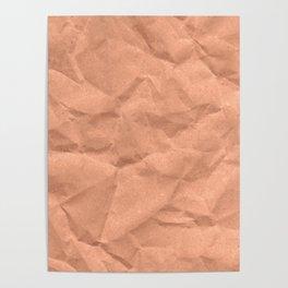 Kraft paper. crumpled paper Poster