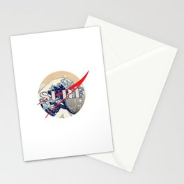 Surf The Great Wave Off Kanagawa - Nasa Logo Inspiration Stationery Cards