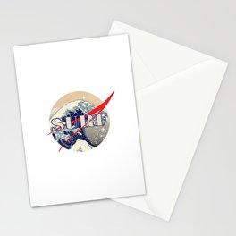 Surf The Great Wave Off Kanagawa - Nasa Logo Inspiration Stationery Cards