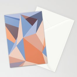 Geometric pattern in coral and blue Stationery Cards