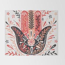 Hamsa Hand – Red & Black Palette Throw Blanket