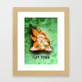 Cat yoga shavasana Framed Art Print