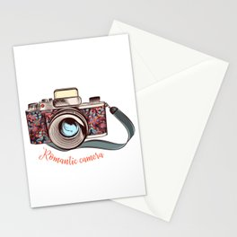 Beautiful pretty gurlish camera with flowers Stationery Cards