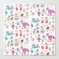 girl power Canvas Prints featuring Girl Power by Art Tree Designs