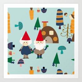 gnome blue Art Print