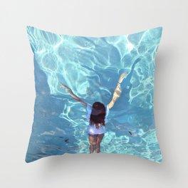 swimming freya Throw Pillow