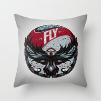 fly Throw Pillows featuring Fly by Andreas Preis
