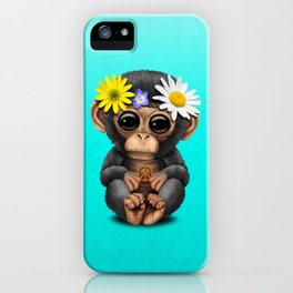 Cute Baby Chimp Hippie iPhone Case