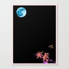 Luna, Bee and Flower Minimalist Poster v1b Canvas Print