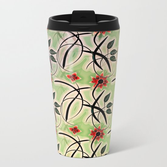 Flower Swirl Pattern Day Metal Travel Mug