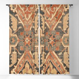 Geometric Leaves III // 18th Century Distressed Red Blue Green Colorful Ornate Accent Rug Pattern Blackout Curtain