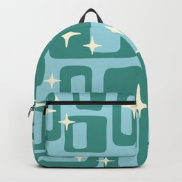 Retro Mid Century Modern Abstract Pattern 578 Teal and Blue Backpack