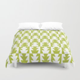 Art Deco Jagged Edge Pattern Chartreuse Duvet Cover