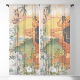 Retro Hawaiian Hibiscus and Hula Dancer Sheer Curtain