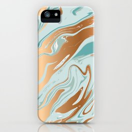 Royal gold teal abstract luquid marble texture iPhone Case