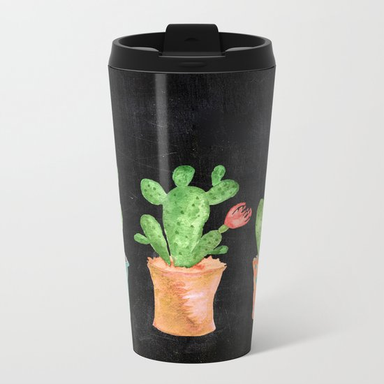 Three Green Cacti On Chalkboard Metal Travel Mug