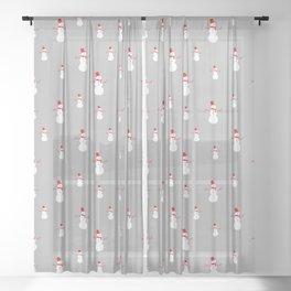 Snowmen on Grey Sheer Curtain