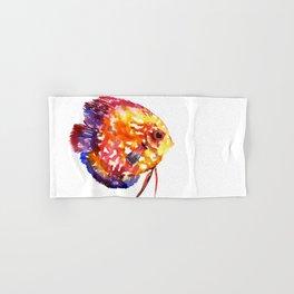 Rainbow Colored Yellow Red Orange Blue Discus, cute fish Hand & Bath Towel