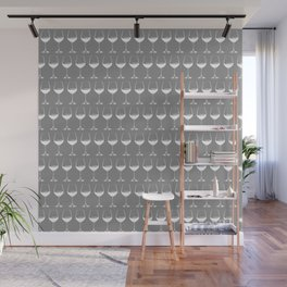 Wine Glasses on Grey Wall Mural