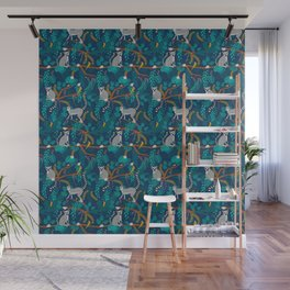 Lemurs on Blue Wall Mural