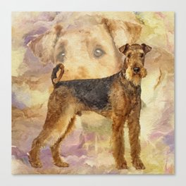 Airedale Terriers Mixed Media Digital art Canvas Print