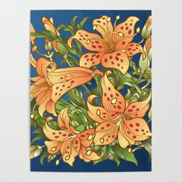 Tiger Lily Flowers Poster