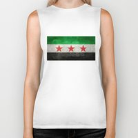 "islam Biker Tanks featuring The Syrian ""independence flag""  retro style version by Bruce Stanfield"