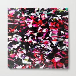 psychedelic geometric triangle polygon abstract pattern in red pink black Metal Print