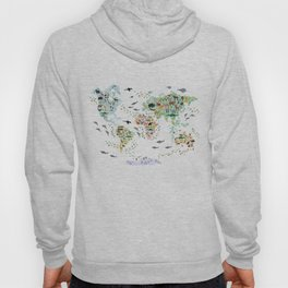 Cartoon animal world map for children, kids, Animals from all over the world, back to school, white Hoody