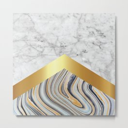 Stone Arrow Pattern - White & Blue Marble, Gold #610 Metal Print