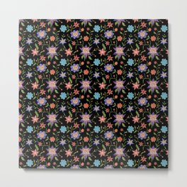 Multicolor flowers with cats Metal Print
