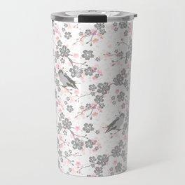 Silver and pink cherry blossom birds Travel Mug