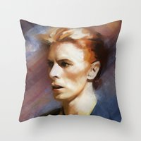 bowie Throw Pillows featuring Bowie by Cristina Sandia