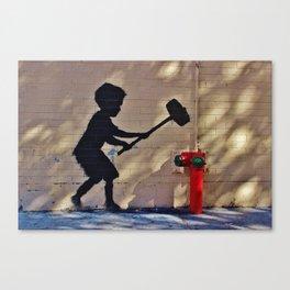 Hammer Boy by Banksy Canvas Print