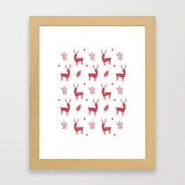 Christmas Red Reindeers Framed Art Print