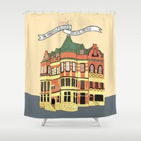 archer Shower Curtains featuring Archer Ave. by andjburke