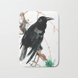 raven, raven crow artwork black brown Bath Mat